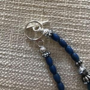 Blue Acrylic, Oxidized Beaded Necklace.