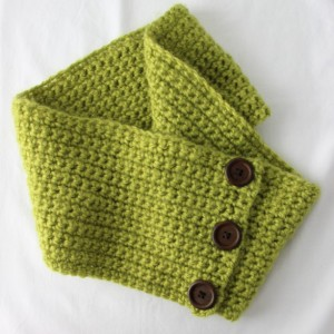 Womens Green Cowl Warm and Chunky with Button Embellishments