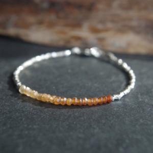Hill Tribe Silver and Hessonite Garnet ombre bracelet - Tiny bracelet - Delicate bracelet - Minimalist bracelet - Ready to ship - 7 inches