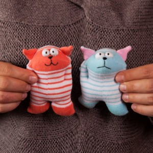 Sock Cat Toy - Stuffed Animal Doll, Small Personalized Gift for Babies, Kids or Women, Soft and Handmade