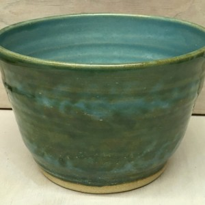 Blue Green Wheel Thrown Mixing/Serving Bowl