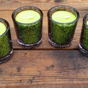 Glass Candle Holders with Green Candles, Set of 4