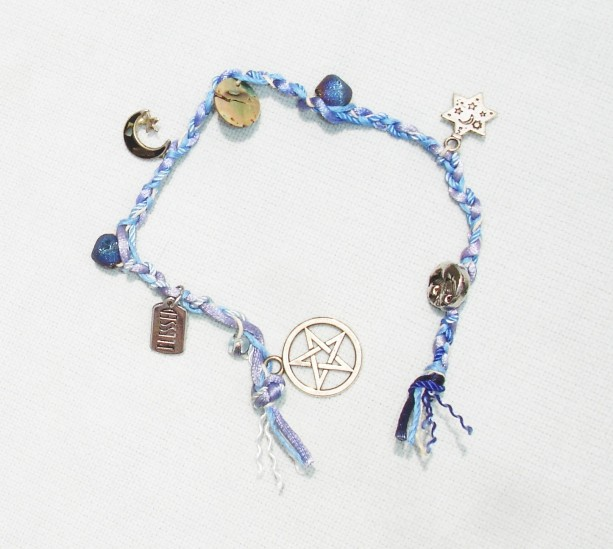 Blue Witches Ladder Pentagram with Abalone Shell and Druzy Gemstones