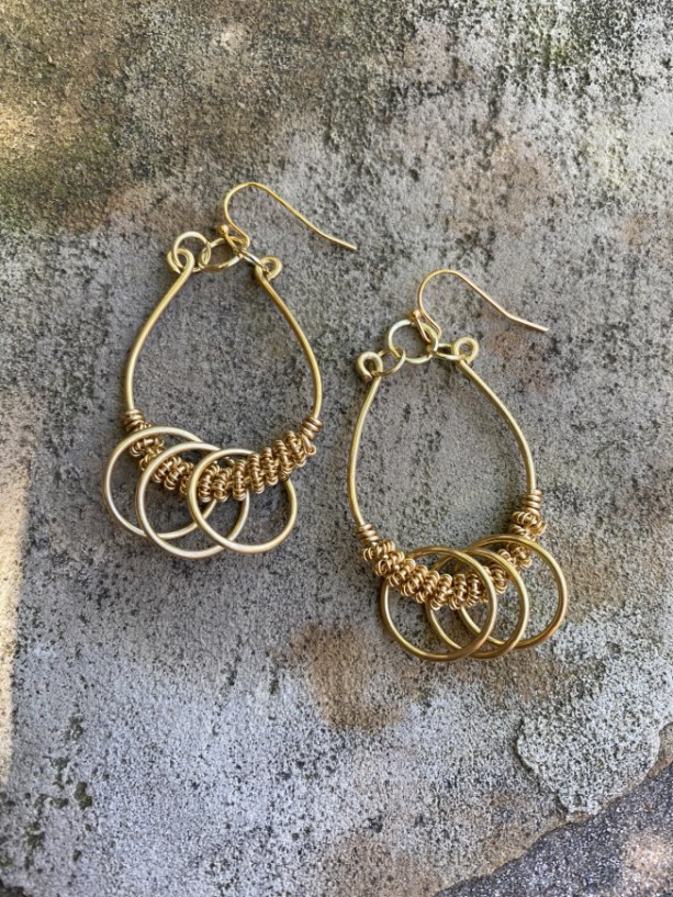 Gold coiled earrings