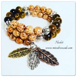 Stacked Leaf Charm Tiger Eye Beaded Bracelet