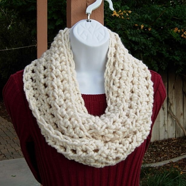 Infinity Scarf Cowl Loop Solid Light Cream Off White Soft Wool Blend Thick Crochet Knit Winter Circle Neck Warmerady To Ship In 2 Days