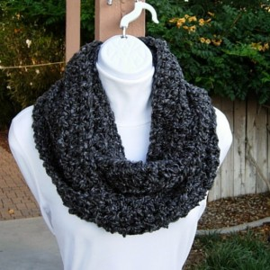 INFINITY LOOP SCARF Black Dark Gray Grey Charcoal Extra Soft Winter Neck Warmer, Endless Eternity Ring Circle Cowl..Ready to Ship in 2 Days