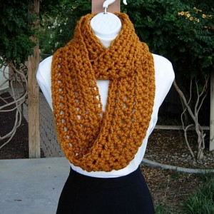 INFINITY SCARF Cowl Loop, Butterscotch Solid Dark Yellow Orange Gold, Soft Wool, Handmade Crochet Knit Circle Wrap..Ready to Ship in 3 Days