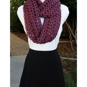 INFINITY SCARF Loop Cowl Medium Dark Fig Purple, Bulky, Soft Wool Blend, Crochet Knit Winter Circle, Neck Warmer..Ready to Ship in 2 Days