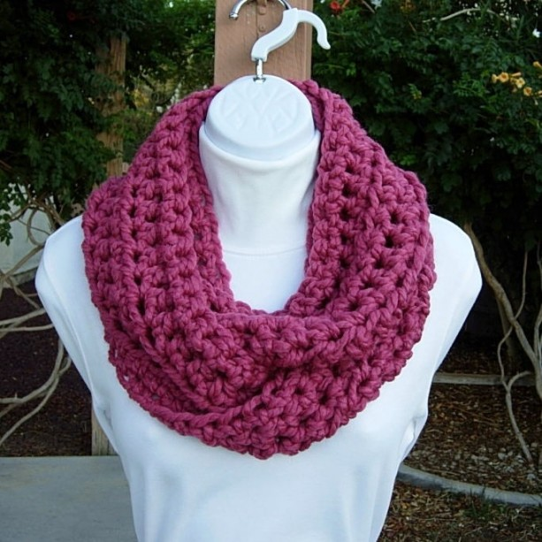 COWL SCARF Infinity Loop, Raspberry Dark Solid Pink, Soft Wool Blend, Crochet Knit Winter Circle Wrap, Neck Warmer..Ready to Ship in 3 Days