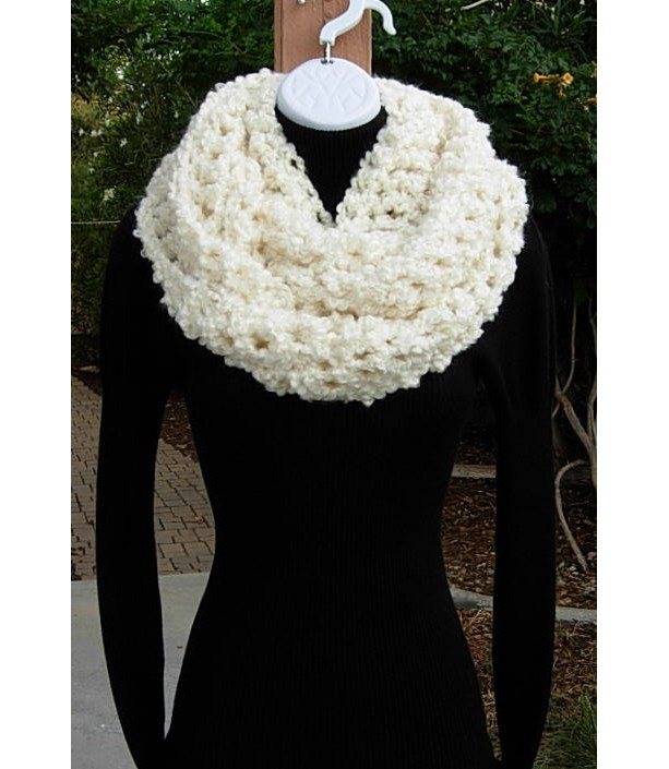 Large Soft Light Cream Handmade Crochet Infinity Loop Cowl