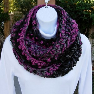 INFINITY SCARF Loop Cowl Black Gray Grey Raspberry Pink, Thick Soft Bulky Chunky Crochet Knit Winter Circle..Ready to Ship in 2 Days
