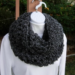 INFINITY SCARF Loop Cowl Black Dark Gray Grey Tweed Large Thick Bulky Chunky Wide Soft Winter Handmade Crochet Knit..Ready to Ship in 3 Days