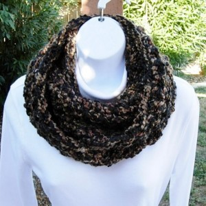 COWL SCARF Infinity Loop Black & Brown Tweed Extra Soft Crochet Knit Thick Bulky Winter Circle Wrap, Neck Warmer..Ready to Ship in 3 Days