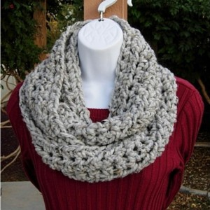 COWL SCARF Infinity Loop, Light Grey Gray with Black & Tan, Wool Acrylic Tweed, Crochet Knit, Winter Circle Wrap..Ready to Ship in 3 Days