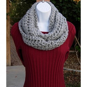 Light Silver Gray INFINITY SCARF, Solid Gray Crochet Cowl, Light Grey Loop Scarf, Acrylic Knit Scarf, Soft Winter Bulky Scarf..Ready to Ship in 2 Days