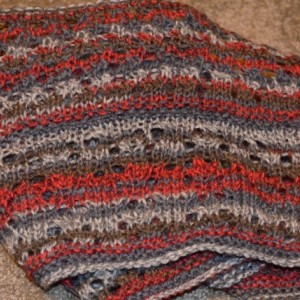 Knitted Lace Cowl - Red/Cream/Brown
