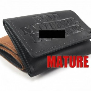 Basic Trifold Wallet WITH Snaps,Mature, Bad Mother F*cker,Genuine Leather, Made in USA,USA,Mens Trifold Leather with Snaps, Leather wallet