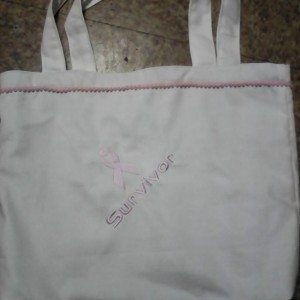 Breast Cancer Survivor Embroidered Tote Bag
