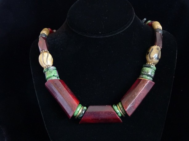 Red Amber Horn Rustic Necklace