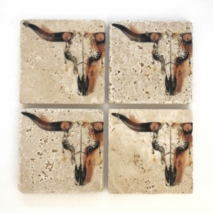 Coaster Set Rustic Longhorn Skull | Natural Stone | Set of 4 with Full Cork Bottom