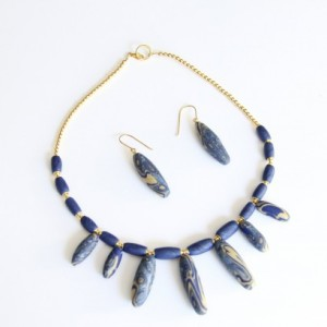 Blue, Gold and Silver Polymer Clay Jewelry