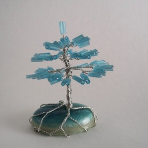 Silver Wire and Frosted Blue Glass Bead Bonsai Tree