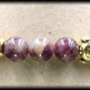 Hematite and Pink Tourmaline Buddha Bracelet for Love