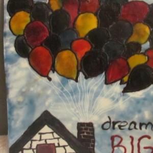 Dream Big - Balloon House Encaustic Pop Wax Art Painting - Free Shipping - 12 x 12