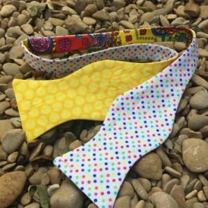 Red paisley bow tie, white pola dot bow tie, yellow polka dot bow tie, magnet tie, wedding accessories, groomsmen tie, self tie bow ties