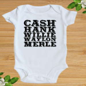 Hankin and Drankin elvis hank merle haggard willie country / classic bands baby Onesie bodysuit / Toddler 2t 3t 4t 5t