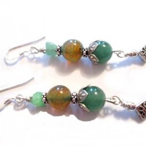 Green Aventurine Mixed Gemstone Earrings, Jade Nugget Earrings, Sterling Silver Earrings, Chinese Jade , On Sale, Mothers Day Gift, For Her