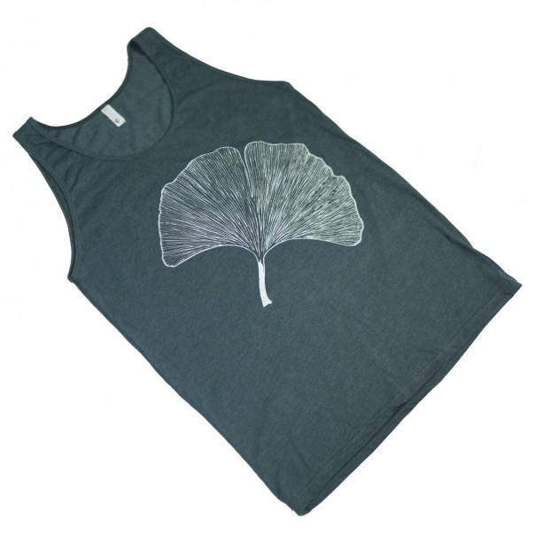 Black Aqua Japanese Ginkgo Leaf Screen Printed Tank Top, Unisex, Poly Cotton, Teal, Botanical, Made in USA, Gifts for Him or Her - XL