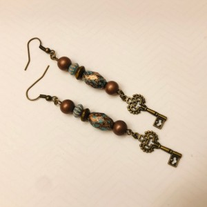 Turquoise and Brown Key Earrings