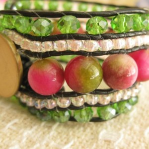 Leather beaded cuff bracelet in Rose and Green Wrap bracelet, designer look