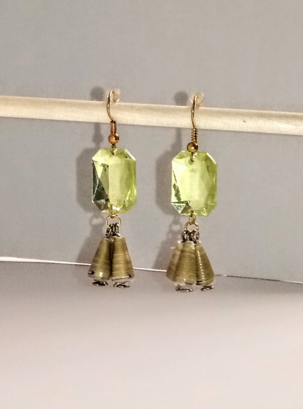 Green Gem and Gold Paper Bead Earrings