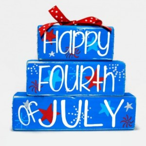 Happy Fourth of July Fireworks Stars Red White Blue WoodenBlock Shelf Sitter Stack