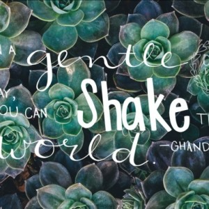 "Ghandi Quote Poster ""In a Gentle Way You Can Shake the World""  11x17 wall decor succulent, leaf, watercolor background"