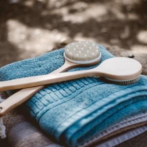 Natural bristle wooden back scrubbing set of 2