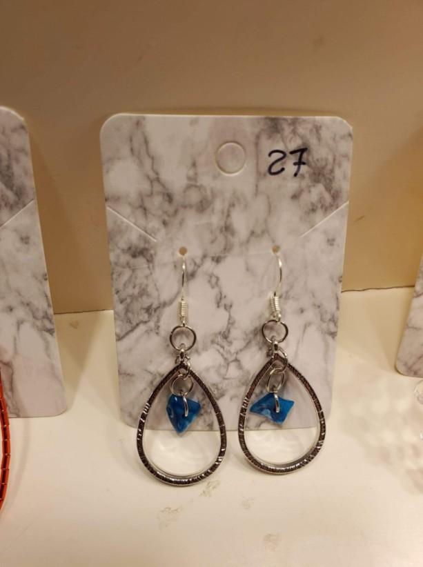 Blue gem loop earrings