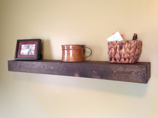 "FREE SHIPPING Large Rustic Style Floating Shelf - 42""L x 7""D - Jacobean finish - Hand Made"