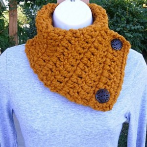 NECK WARMER Cowl SCARF Butterscotch, Dark Orange Yellow Gold, Soft Wool Blend, Wood Buttons, Winter Crochet Knit..Ready to Ship in 3 Days