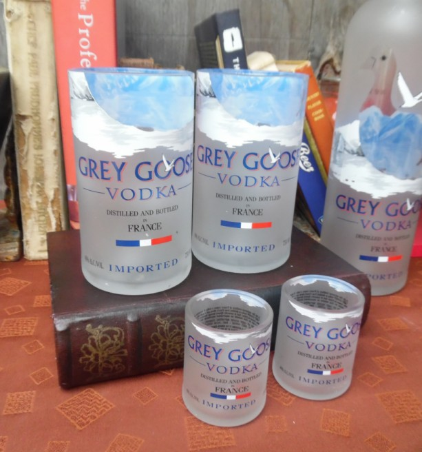 Grey Goose Bottle Upcycled set 2-750 2 shotglasses Mancave Bar Saloon Tavern Home Vodka Lover Wedding Groomsman Unique Trendy Upscale