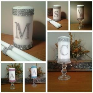 Unity Candle, Unity Wedding Candle Set, Silver Bling Monogram, White Unity Candle Set, Elegant Wedding Candle Set, Silver Wedding Unity Set