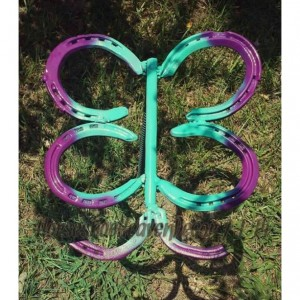 Butterfly yard decor, butterfly garden decor, butterfly horseshoe  yard art, outdoor yard art, custom butterfly garden stake, outdoor yard
