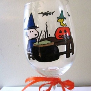 Painted Wine Glass Halloween Snoopy as Witch with Woodstock