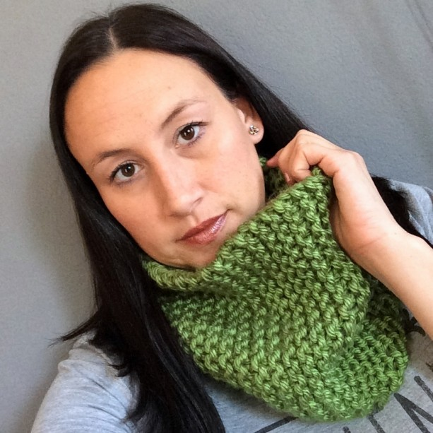 Knit Cowl Scarf Green Scarf Bohemian Cowl