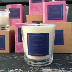 Mango Candle. Scented Soy. 13 Ounce Reusable Glass Tumbler.