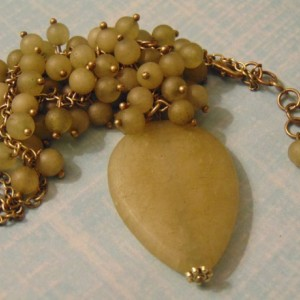 Matte Finish Jade Stone Beads Antique Brass Adjustable Necklace