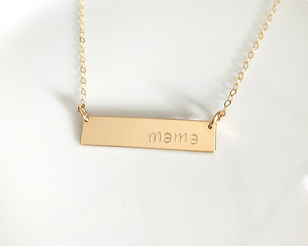 Mama Bar Necklace - 14K Gold Fill or Sterling Silver - Personalized Hand Stamped Necklace - Custom Jewelry - Mothers Day Gift - Gift for Mom